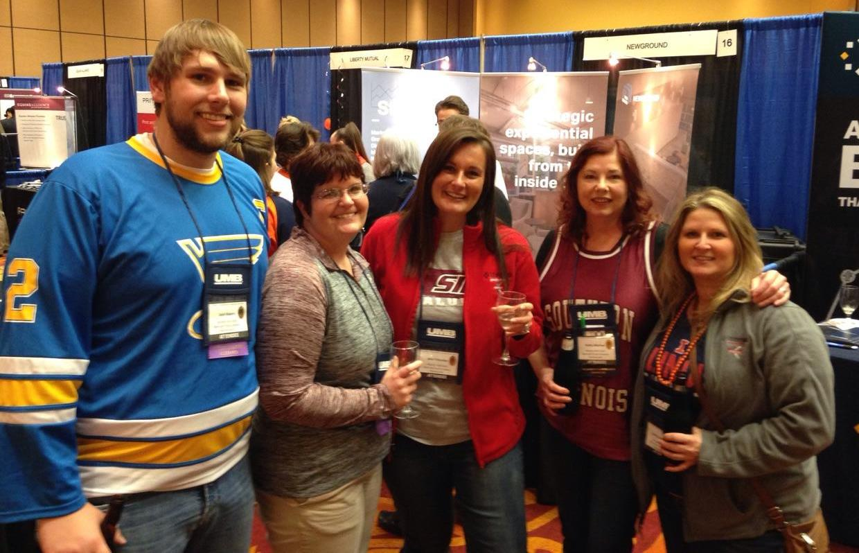 Murphy-Wall State Bank employees Josh Rakers, Jennifer Pauley, Jenn Tritschler, Kathy Marlow, and Kathy Kellerman pose for a picture at the 2017 Illinois Bankers Associations annual ONE Conference.